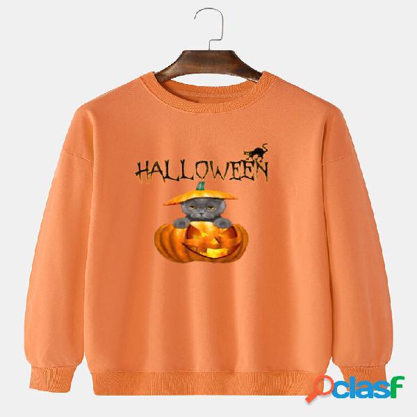 Moletons masculinos 100% algodão halloween engraçado abóbora animal com estampa de ombro