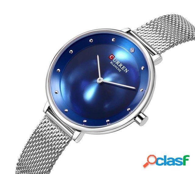 Relógios de quartzo de aço inoxidável da malha do relógio de pulso das mulheres do estilo ocasional waterproof o relógio