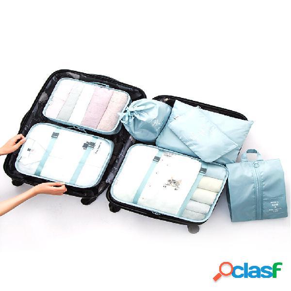 Armazenamento de viagem de sete peças bolsa armazenamento de roupa íntima de bagagem acabamento de viagem bolsa armazena