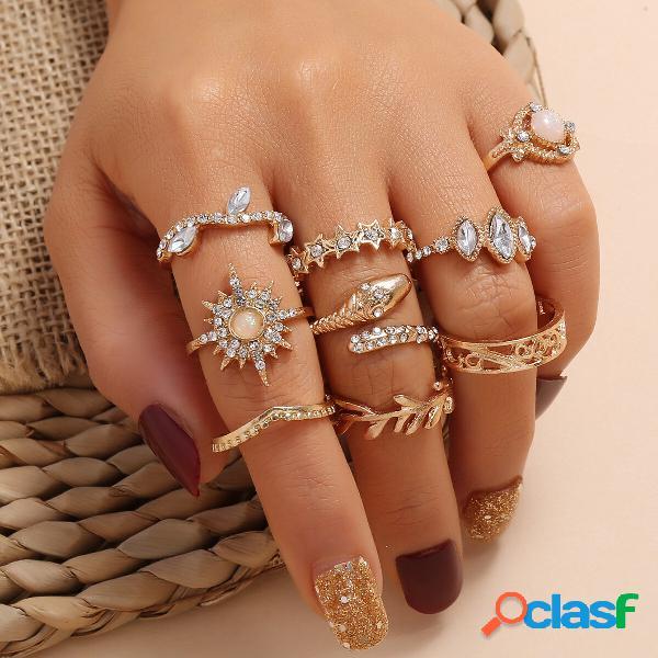 Anéis esculpidos ocos de metal do vintage geométrica estrela de seis pontas estrela strass conjunto de anéis de cobra