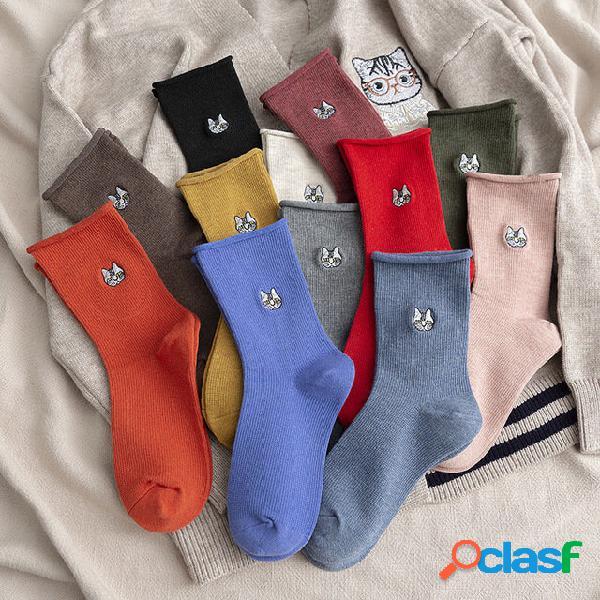 Meias tubo de ondulação senhoras dos desenhos animados bordado meias de gato de algodão cor sólida meias esportivas