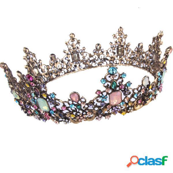 Ouro vintage incrustado diamante colorido hairband geométrica de metal strass coroa tiara festa hairband