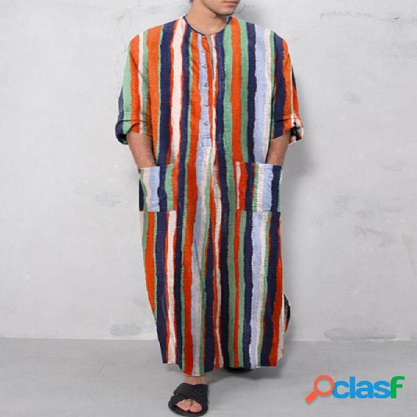 Algodão étnico listrado soft plus tamanho manga comprida fenda bainha bainha robe com bolsos na cintura