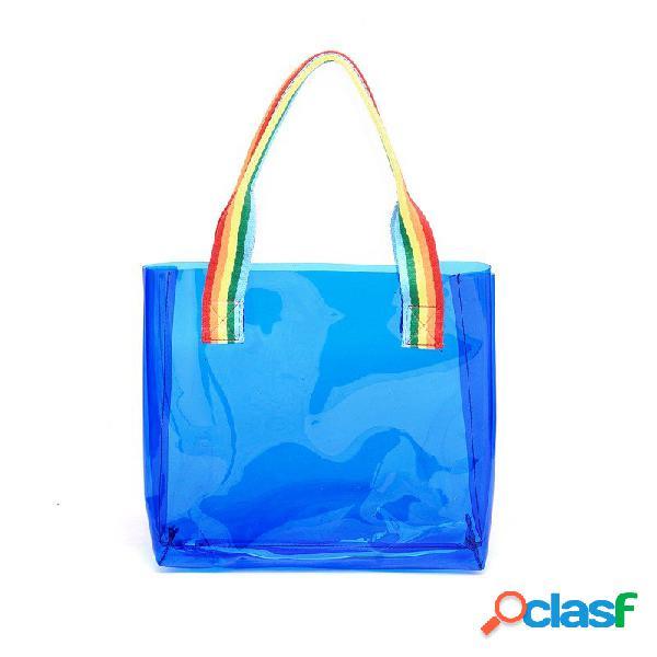 Honana hn-b65 sacola impermeável colorida de armazenamento de viagem para pvc clear large beach outdoor tote bag