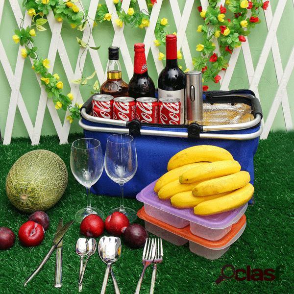 Kcasa kc-bb474 cesta piquenique piquenique portátil isolados camping cooler outdoor churrasco organizador de alimentos