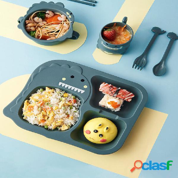 1/4 / 6pcs crianças bebê desenhos animados dinossauro padrão anti-queda complementar comida prato tigela copo pauzinho c