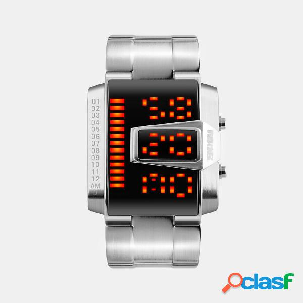 Relógio masculino banda de aço inoxidável luminoso à prova d'água led relógio digital