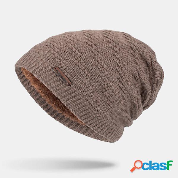 Lã masculina plus grosso inverno manter quente à prova de vento tricô chapéu