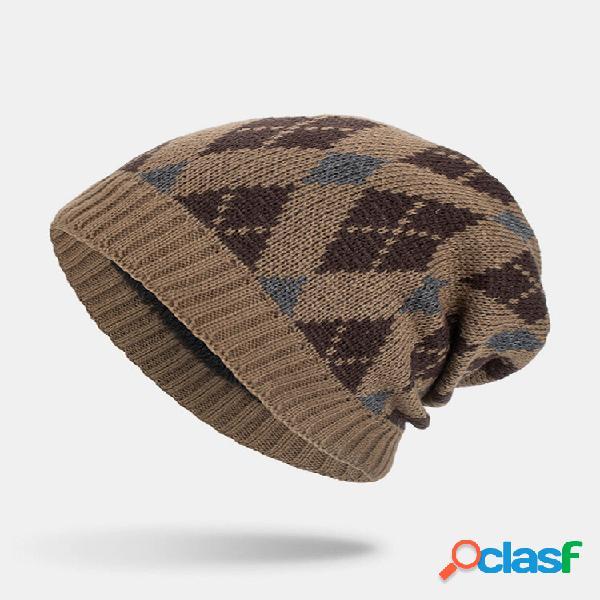 Masculino inverno plus geométrico de veludo padrão outdoor longo gorro quente de malha chapéu
