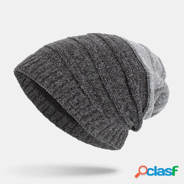 Masculino inverno plus veludo listrado padrão externo longo malha quente gorro chapéu
