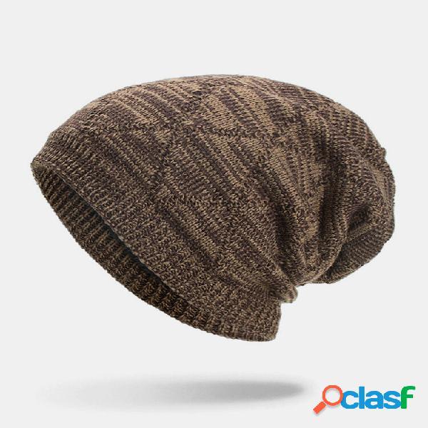 Masculino inverno plus veludo listrado padrão gorro quente de malha longa ao ar livre chapéu
