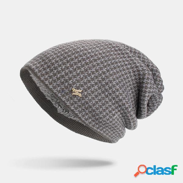 Masculino inverno plus xadrez de veludo padrão gorro quente de malha longa ao ar livre chapéu