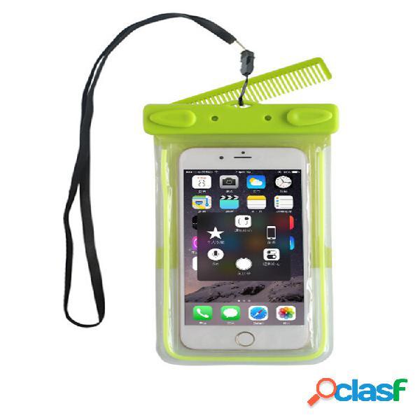 Impermeável universal bolsa com janela transparente espelho pente para celular com menos de 6 polegadas