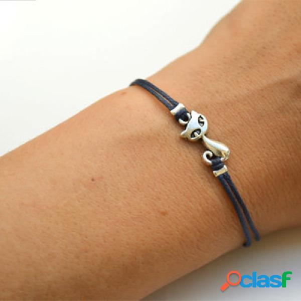 Animal geométrico na moda pingente bracelete de couro de gato de pulseira pulseira jóias elegantes