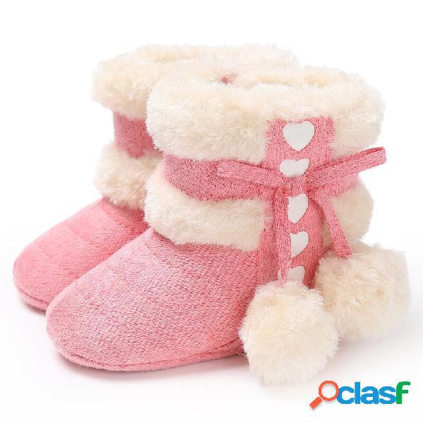 Sapatos de bebê para criança bonitos com cordões e bola fofa decoração confortável pelúcia quente soft botas de neve