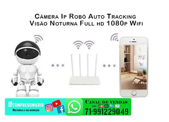 Câmera ip robô auto tracking visão noturna fullhd 1080p