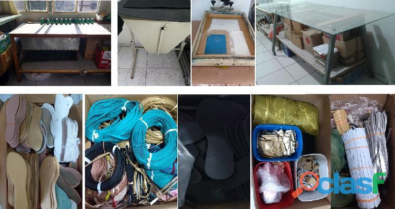Fábrica de rasteirinhas vende bancadas / materiais, acessórios e ferramentas usados