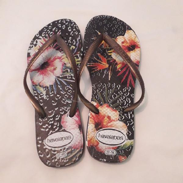 Promoção chinelos havaianas com varias estampas coloridas