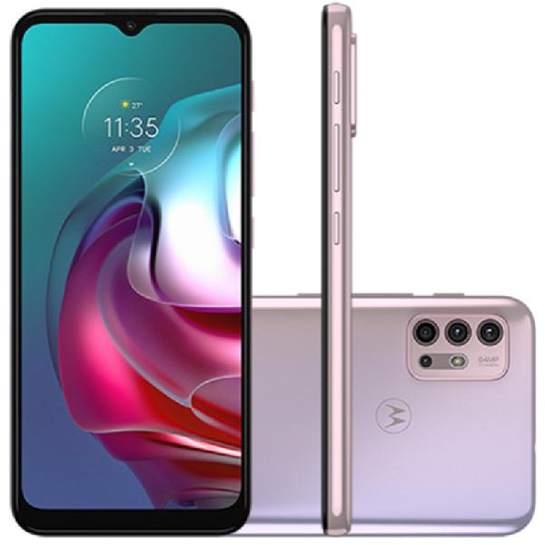 "Smartphone motorola g30 128gb white lilac tela de 6,5"""