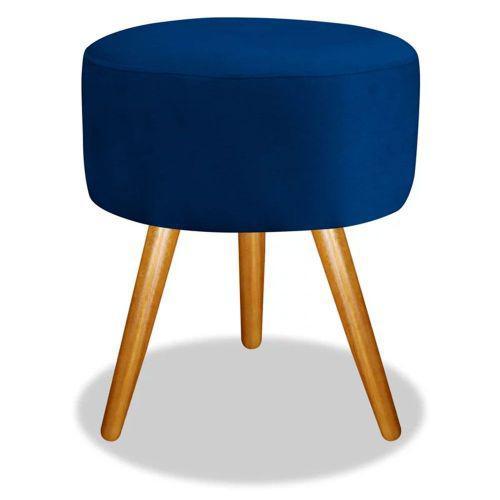 Puff decorativo redondo p/u00e9s madeira suede azul marinho