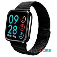 Relógio smartwatch p70 com 2 pulseiras (aço/silicone) pretas. detalhe