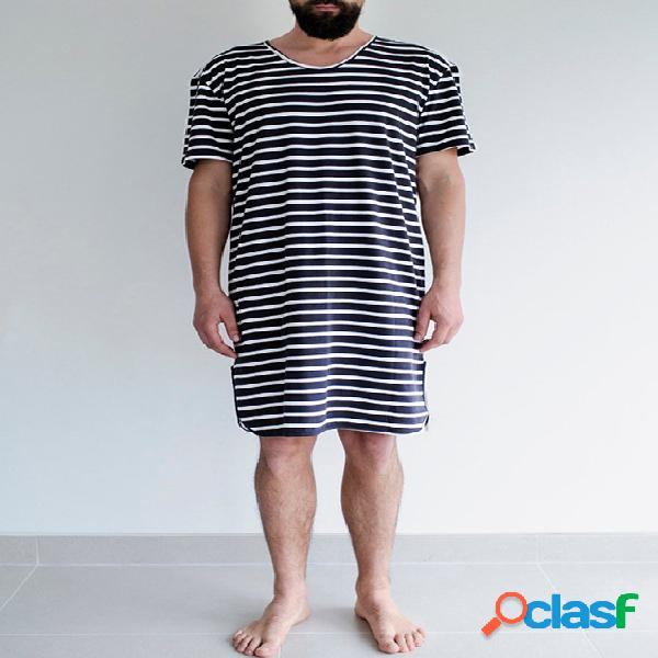 Incerun masculino manga curta em volta do pescoço soft pijama confortável de listras soltas