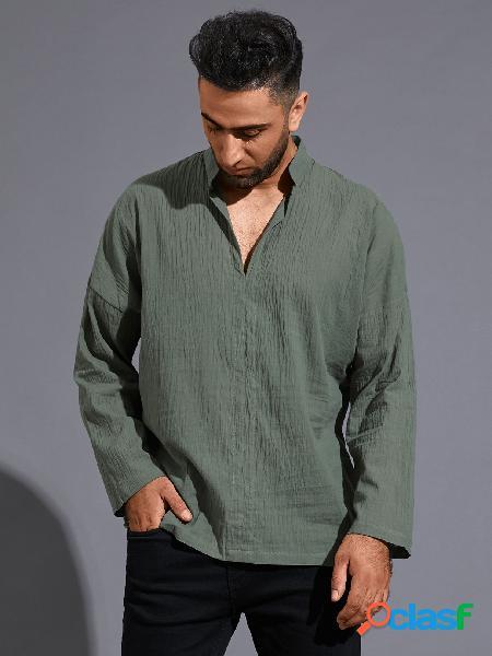 Masculino casual decote em v liso manga longa externa camisa