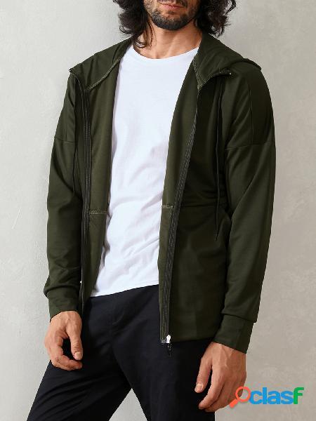 Blioesy casaco masculino com capuz fino de manga comprida cor sólida e zíper