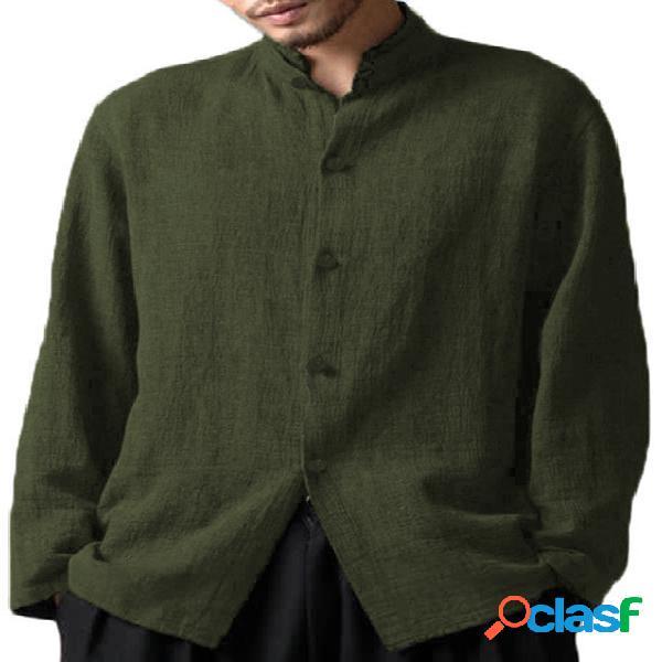 Homem casual outono soft colarinho liso manga longa camisa