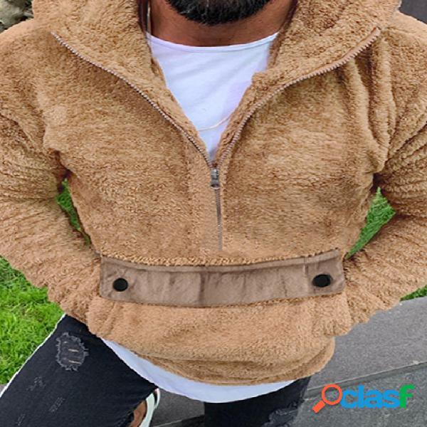 Incerun masculino fall manga longa metade zip fofo pulôver casual engrossar com capuz