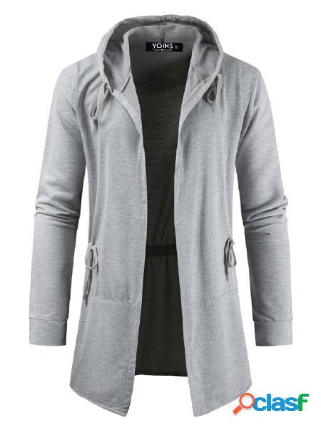 Yoins basics masculino outono inverno casual casaco com capuz liso cardigan