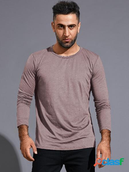 Camiseta masculina primavera outono algodão casual manga longa lisa