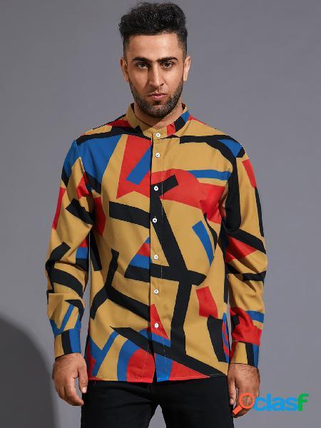 Homem casual geométrico cor bloco estampado manga longa camisa