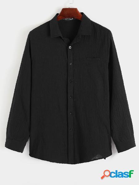 Bolso masculino outono casual liso manga longa camisa