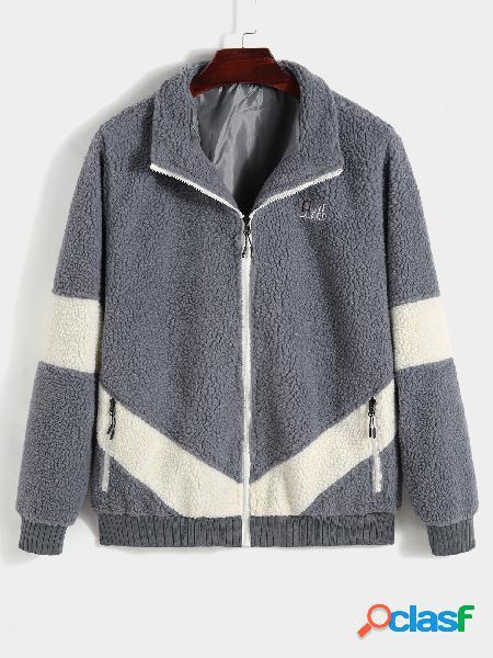 Casaco casual masculino moda inverno grosso quente pele de cordeiro