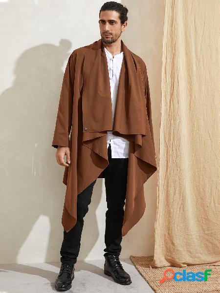 Casaco masculino casual fresco de cor sólida irregular cardigan midi de manga comprida