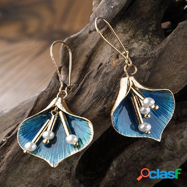 Epoxy vintage feminino brincos long tassel pearl pingente brincos joias para presente