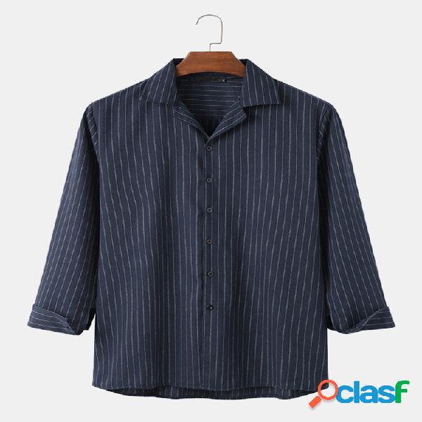 Homens 100% algodão manga longa com decote em v listrado camisas soltas casuais