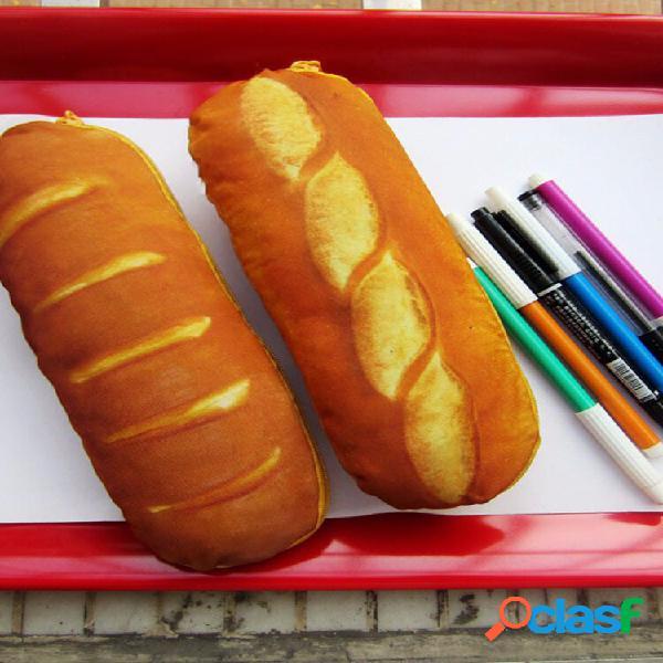 Lápis de pão francês realista caso caneta bolsa papelaria material de escritório escolar
