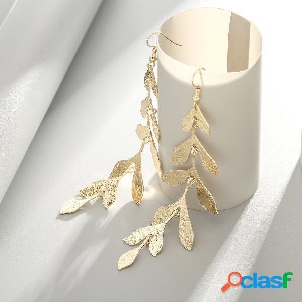 Vintage leaves tassel pingente brincos temperament gold folha long brincos jóias elegantes
