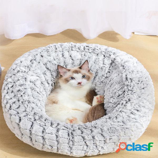 Pv long plush super soft pet cama redonda canil cachorro cat confortável almofada de dormir ajustável