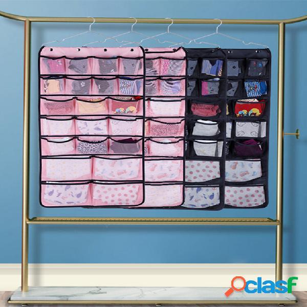 Tecido não tecido fio de malha 42 grade de armazenamento bolsa itens domésticos para acabamento de roupas íntimas armaze