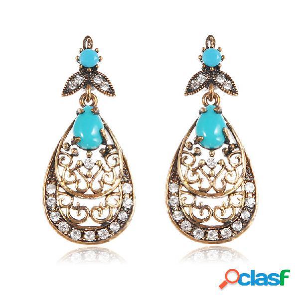 Retro azul turquesa brincos long style strass orelha gota para as mulheres