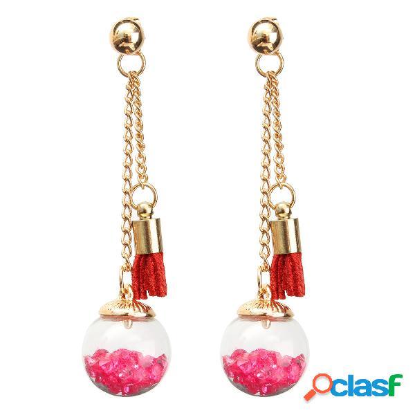 Wishing ball crystal leather tassel long earrings gift