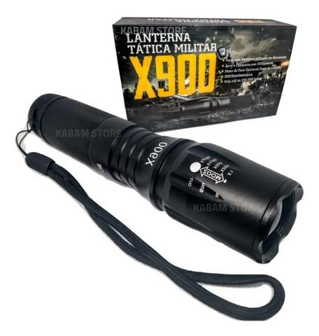 Lanterna tática militar x900 potente recarregável completa