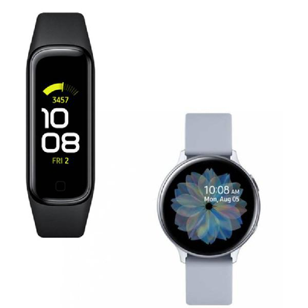 Relógio samsung galaxy watch active2 bt prata e galaxy fit2