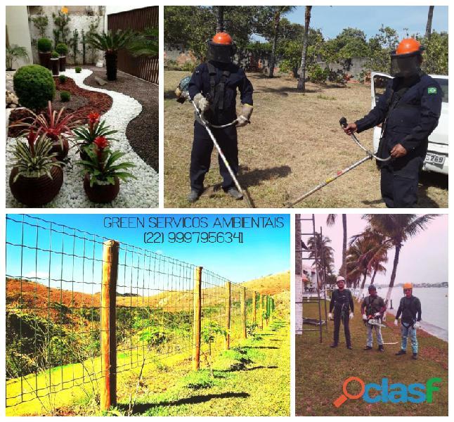 Poda e corte de árvores, limpeza de terreno, manutenção de jardins, locação de trator com roçadeira,