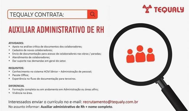 Tequaly contrata - auxiliar administrativo de rh