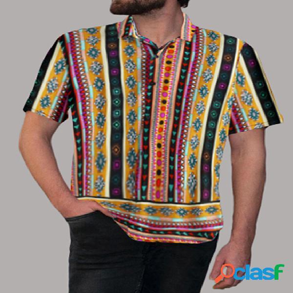 Incerun homens étnicos impressos impressão geométrica de verão confortável soft respirável camisa