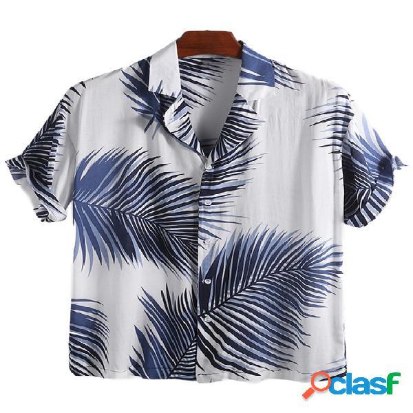 Incerun homens hawaiian tropical print soft respirável solto casual camisa